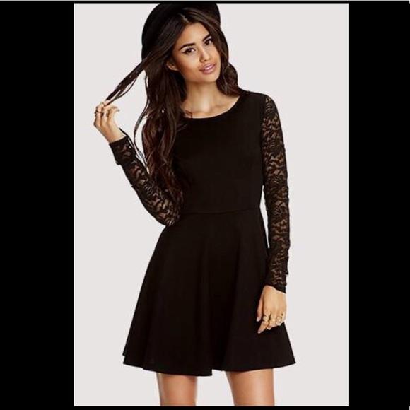 Forever 21 Dresses Long Sleeve Lace Sheer Black Skater Dress
